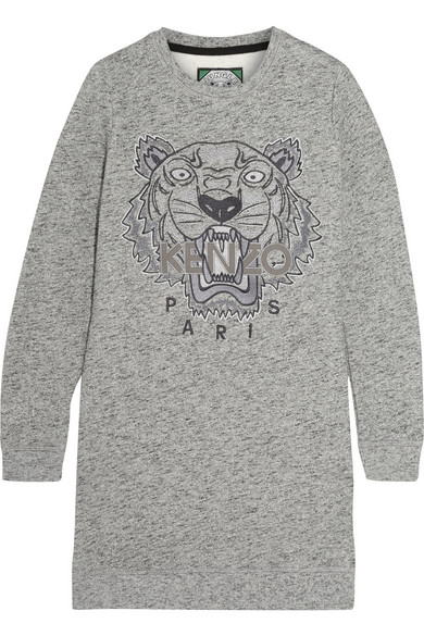 kenzo tiger embroidered sweater dress