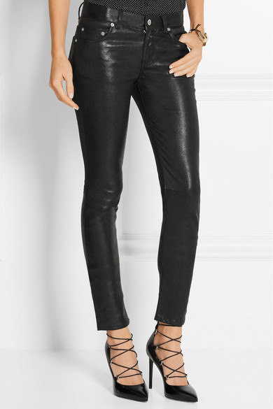 saint laurent skinny stretch leather trousers 3