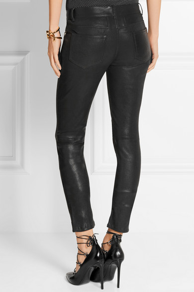 saint laurent skinny stretch leather trousers 33