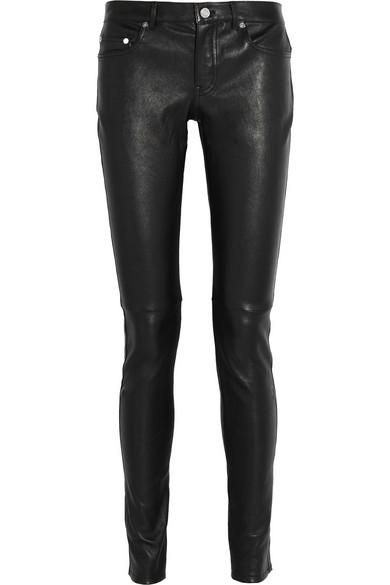 saint laurent skinny stretch leather trousers