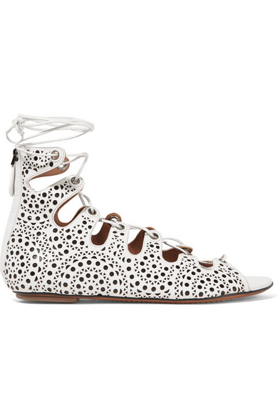ALAÏA - LASER-CUT LEATHER LACE-UP SANDALS