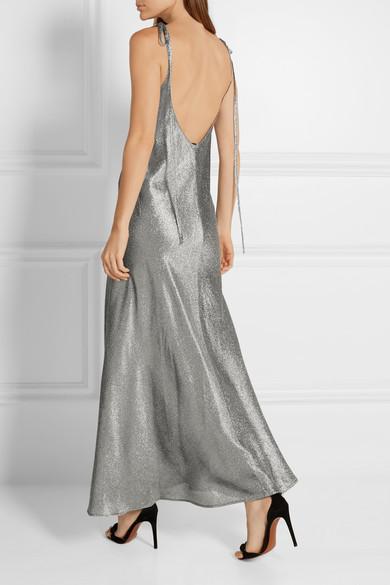 Attico Marisa Stretch Silk Blend Lam 201 Maxi Dress The