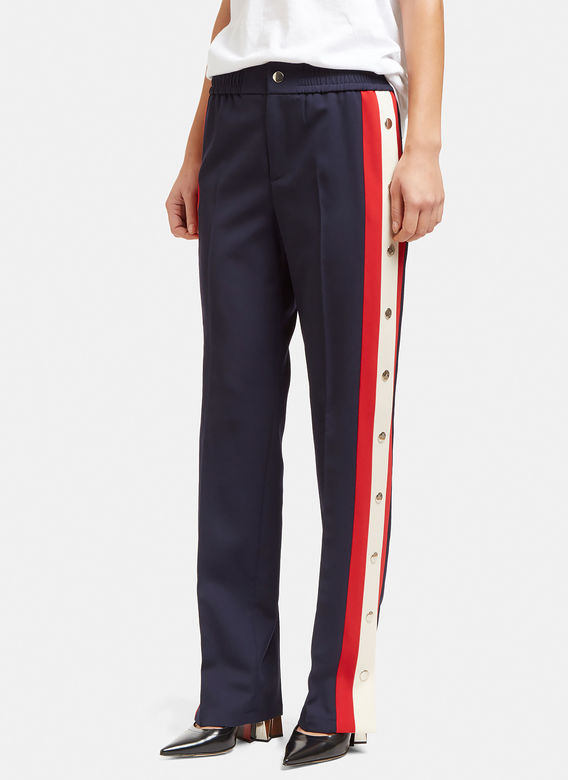 Gucci Women S Striped Popstud Seam Track Pants In Navy