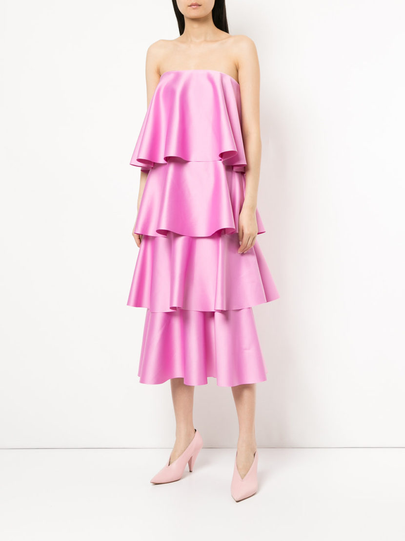 Solace London Strapless Ruffled Dress The Untitled