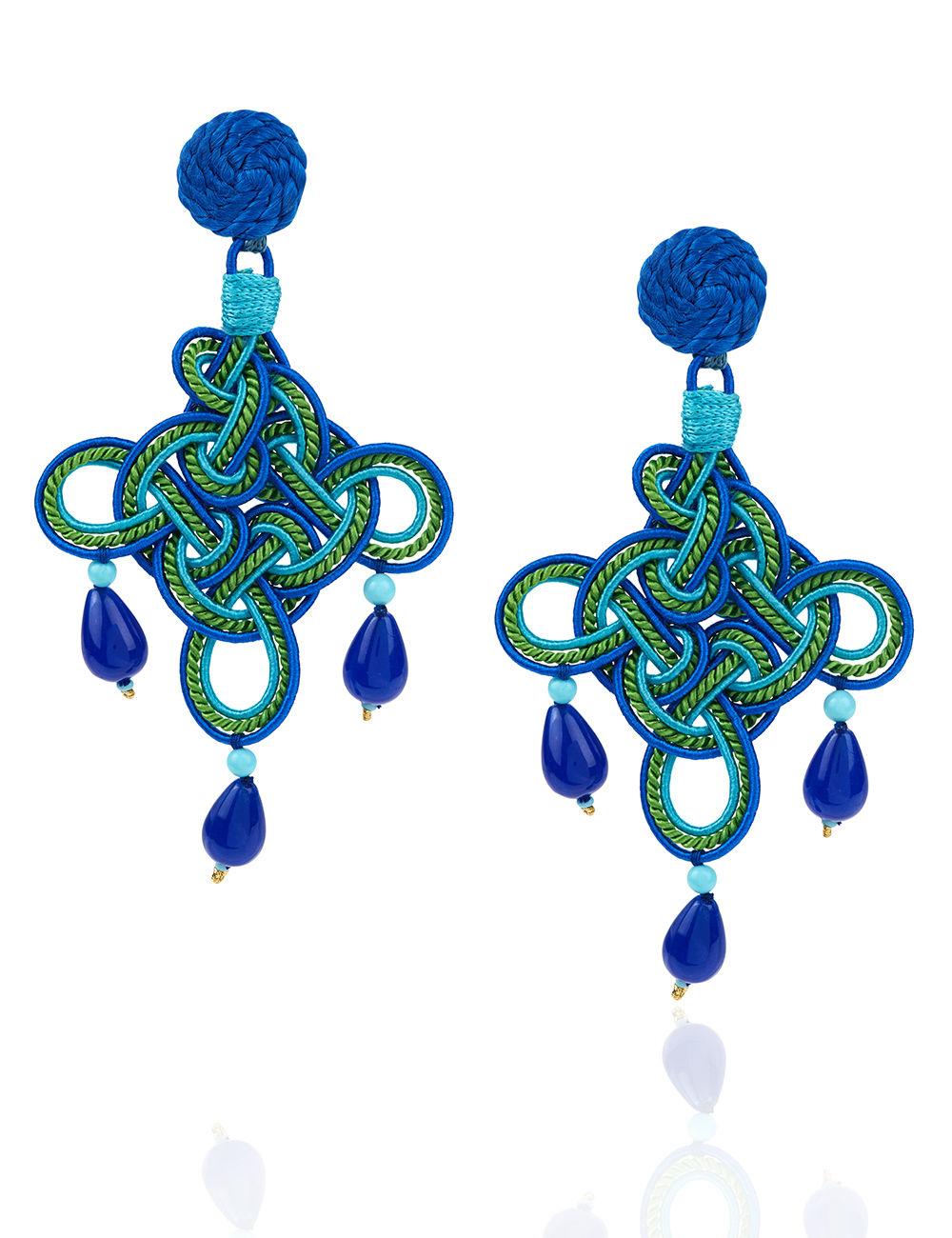 9f4e4db67 ANNA E ALEX – GREEN & BLUE ROMBO MAXI EARRINGS